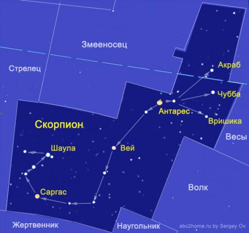 карта созвездия Скорпион